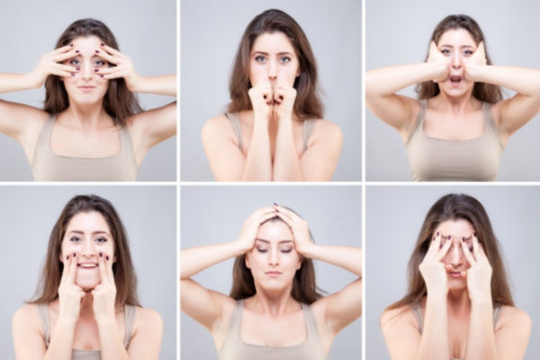 facial exercises, massage the face to be slender